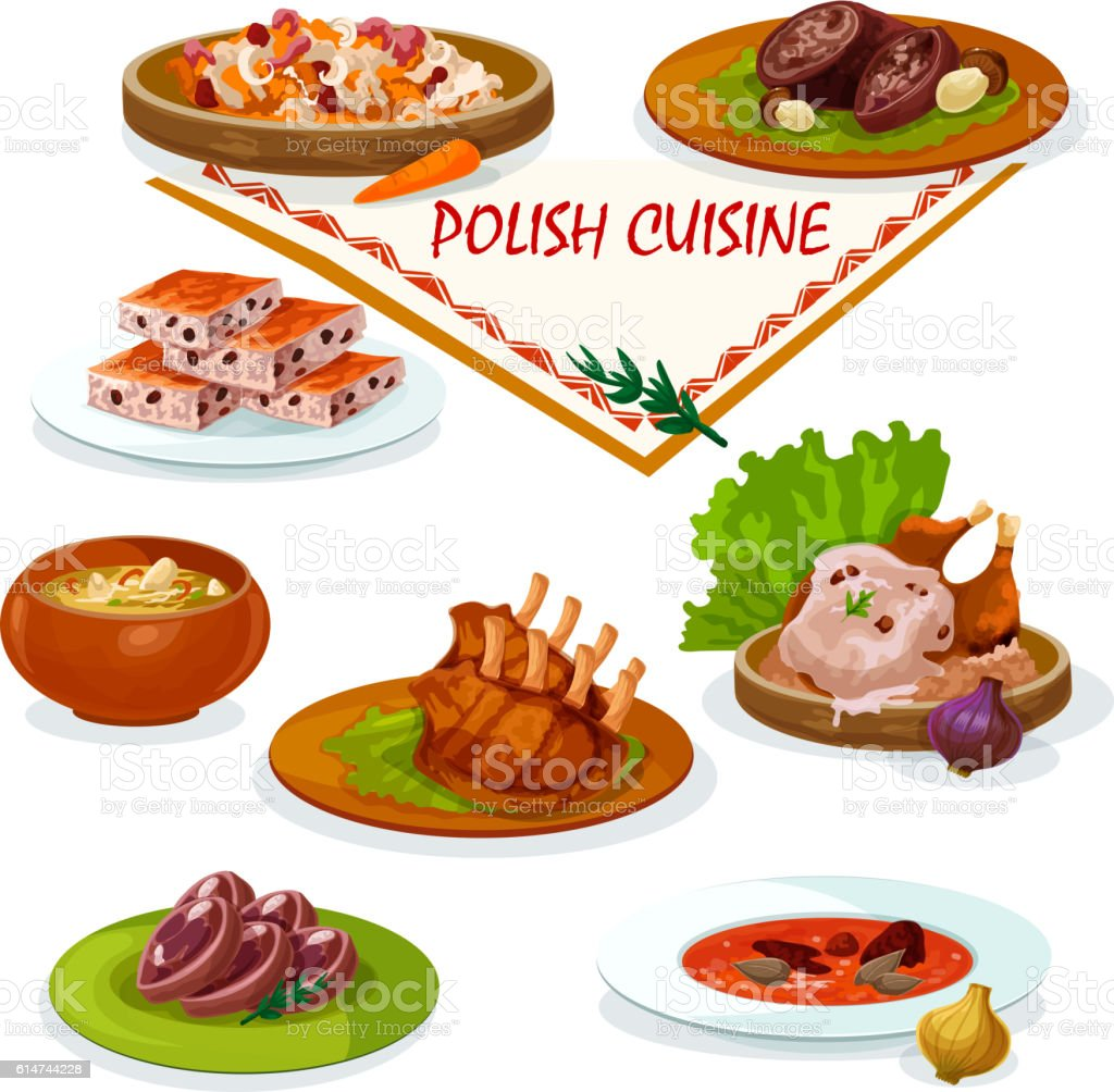 Polish cuisine savory dishes icon for menu design vector art illustration