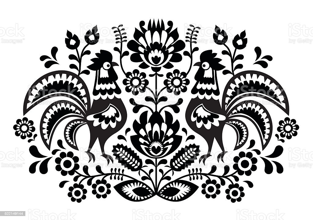 Polish floral embroidery with roosters - traditional folk art pattern vector art illustration