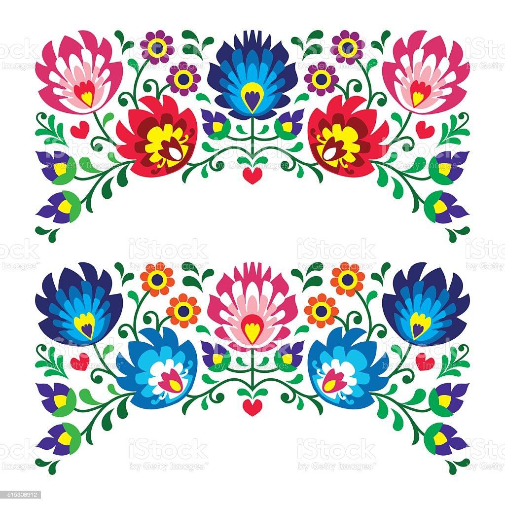 Polish floral folk art embroidery patterns for card vector art illustration