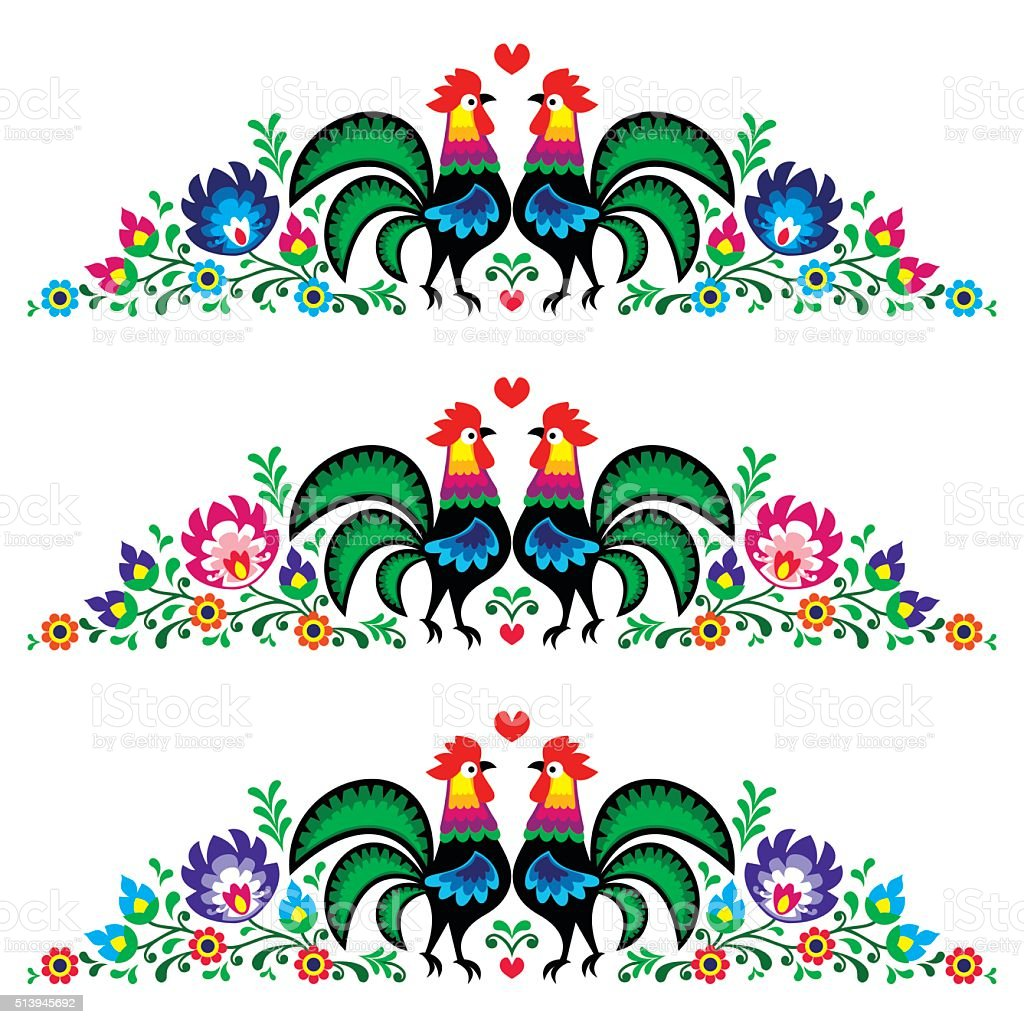 Polish floral folk art long embroidery pattern vector art illustration