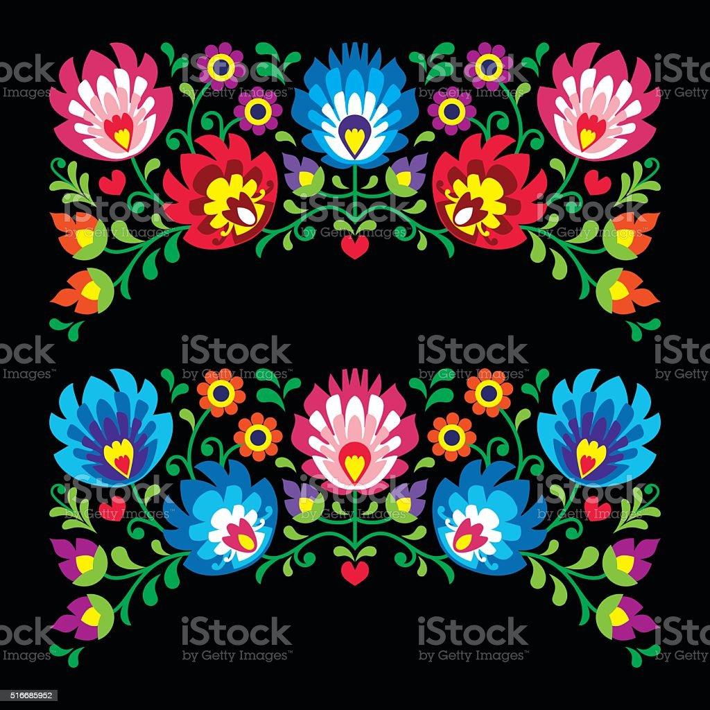 Polish floral folk embroidery patterns for card on black vector art illustration