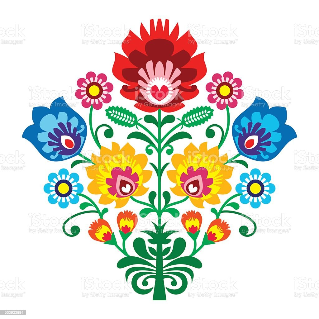 Polish Folk art embroidery with flowers - traditional pattern vector art illustration
