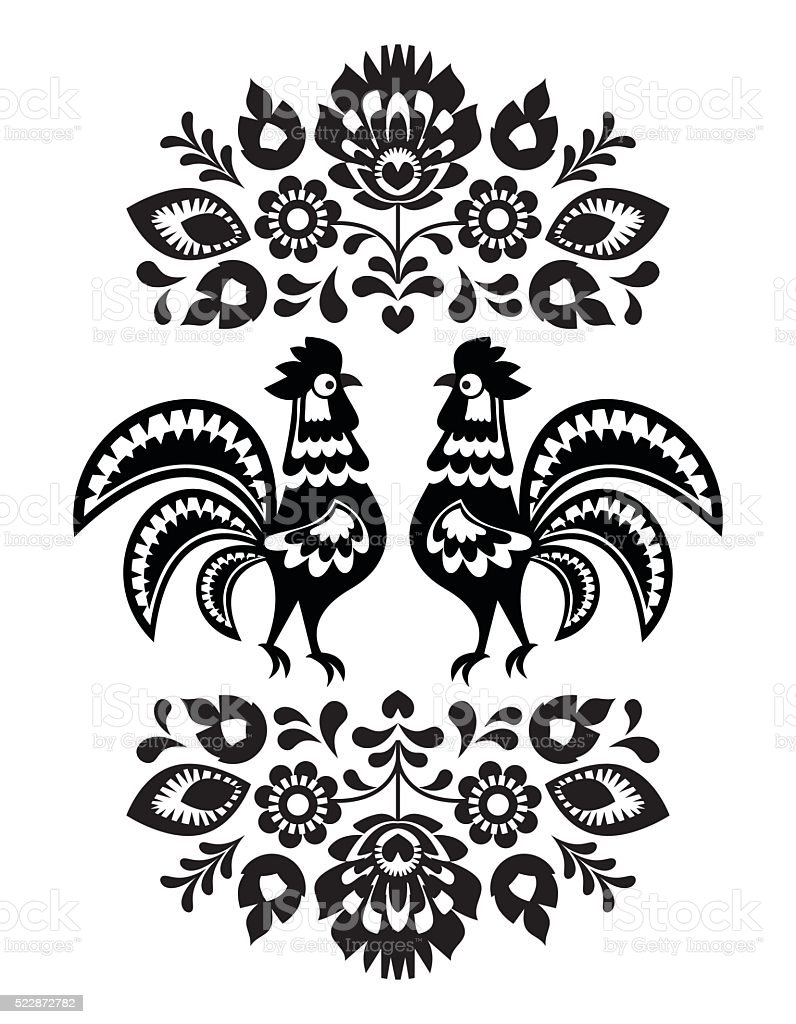 Polish folk art embroidery with roosters in black and white vector art illustration