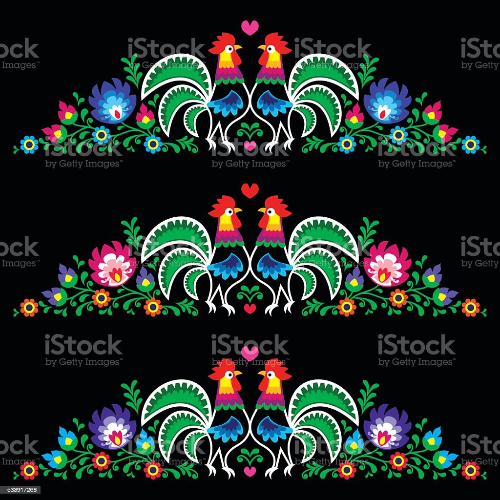 Polish folk art embroidery with roosters - traditional folk pattern vector art illustration