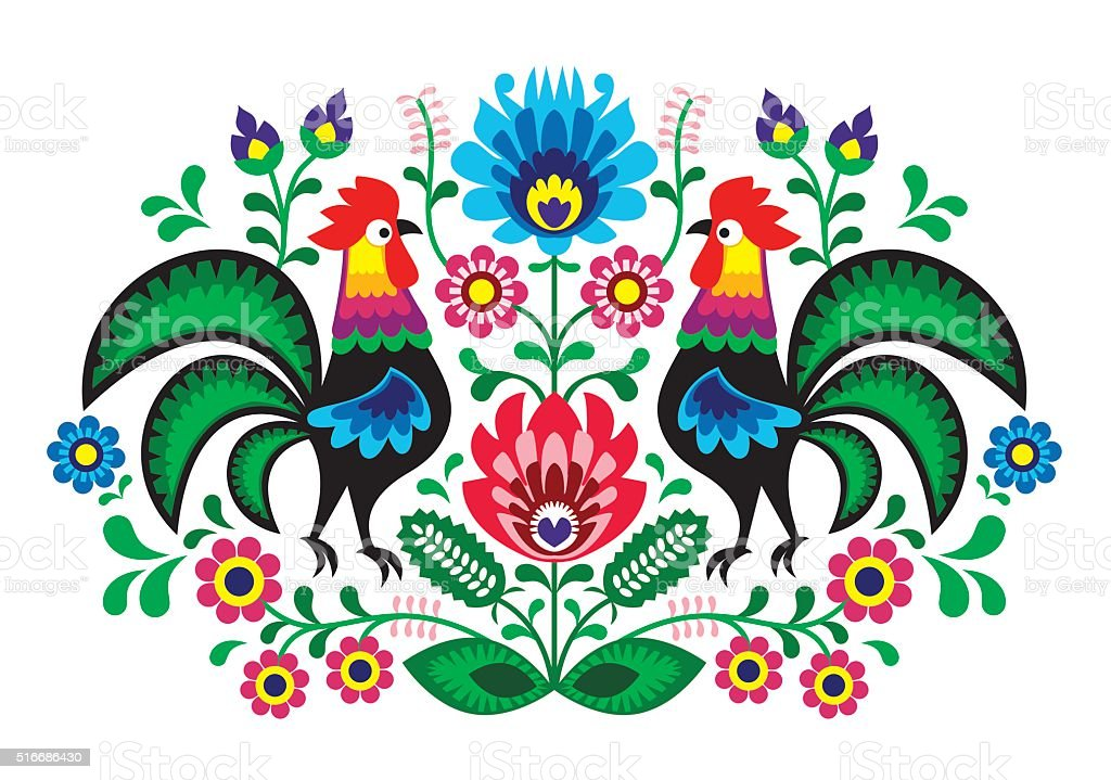 Polish folk art floral embroidery with cocks - traditional folk pattern vector art illustration