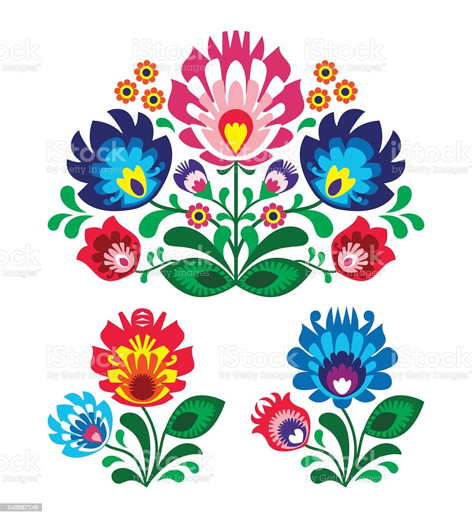 Polish folk art floral embroidery with roosters - traditional folk pattern vector art illustration