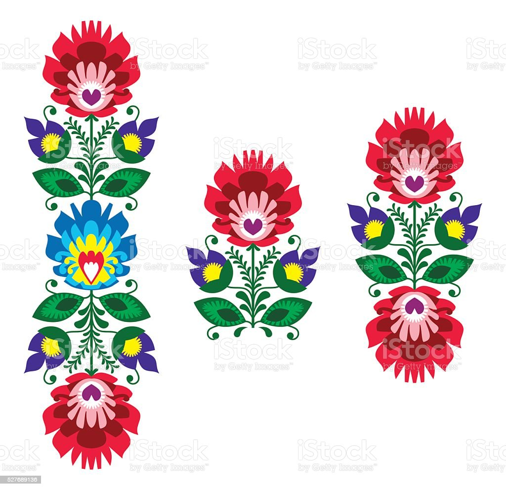 Polish folk art - floral traditional polish pattern vector art illustration