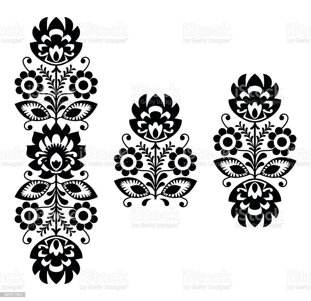 polish folk art pattern in black and white stock vector art