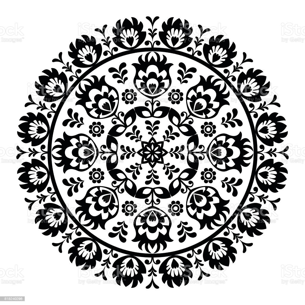 Polish folk art pattern in circle - wzory lowickie, wycinanki vector art illustration