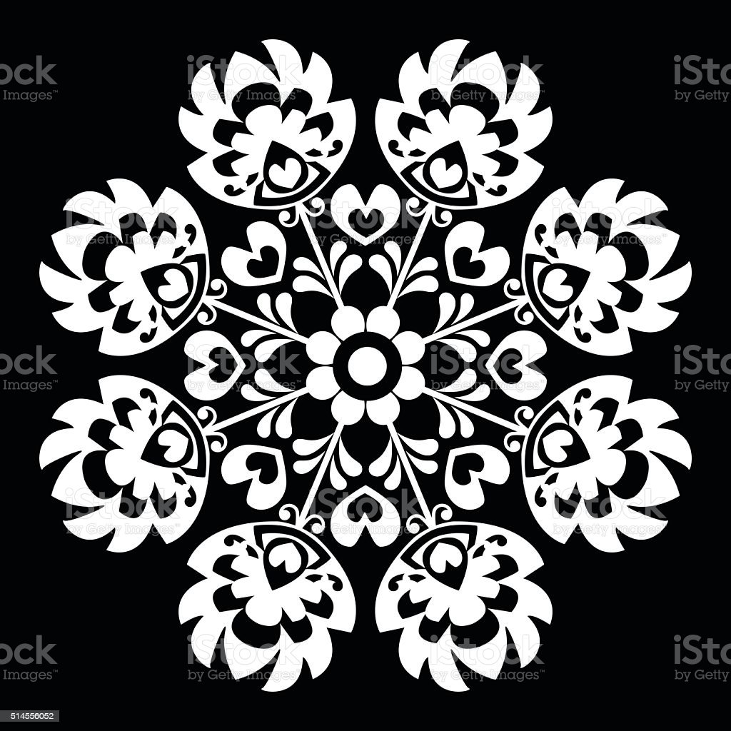 Polish round white folk art pattern - Wzory Lowickie, Wycinanka vector art illustration