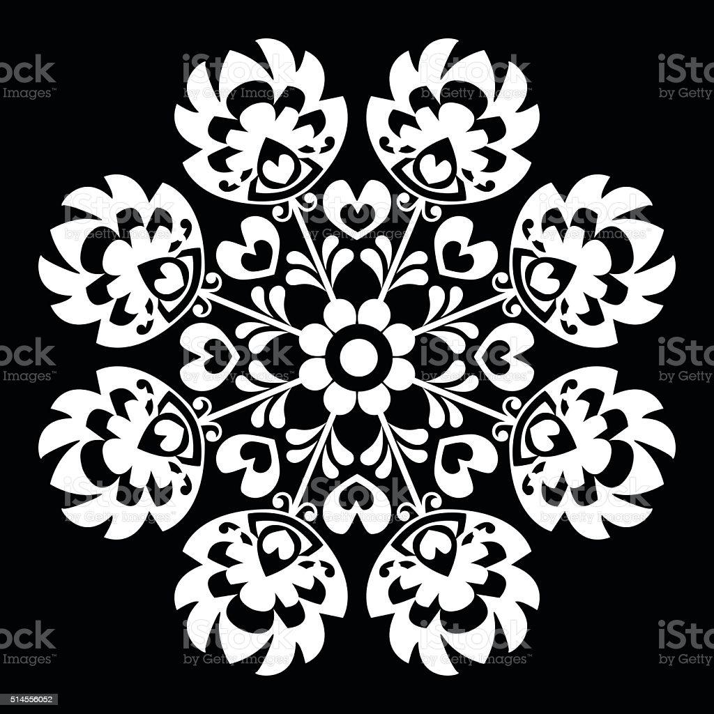 Polish round white folk art pattern - Wzory Lowickie, Wycinanka vector art illustration