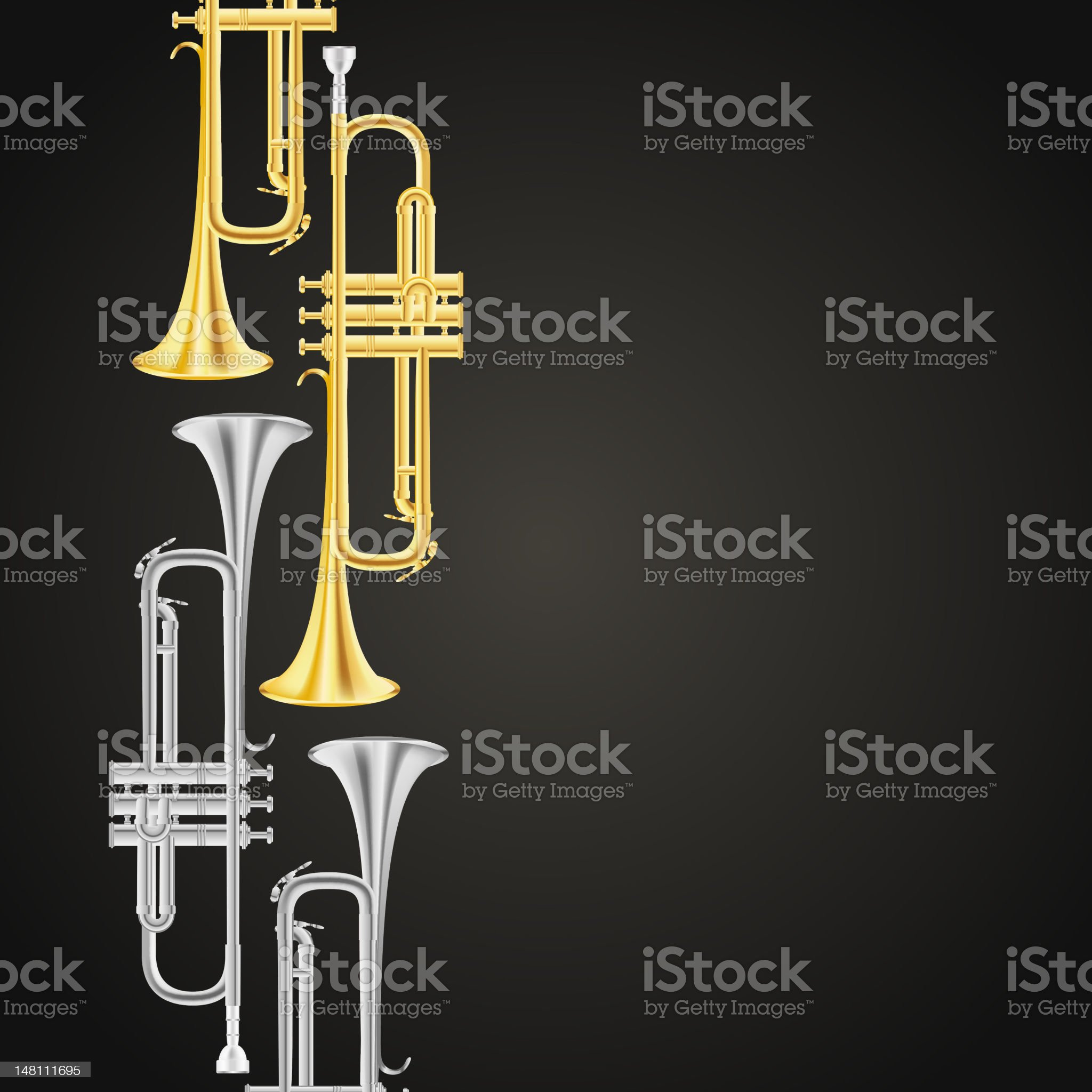 polished brass trumpet royalty-free stock vector art