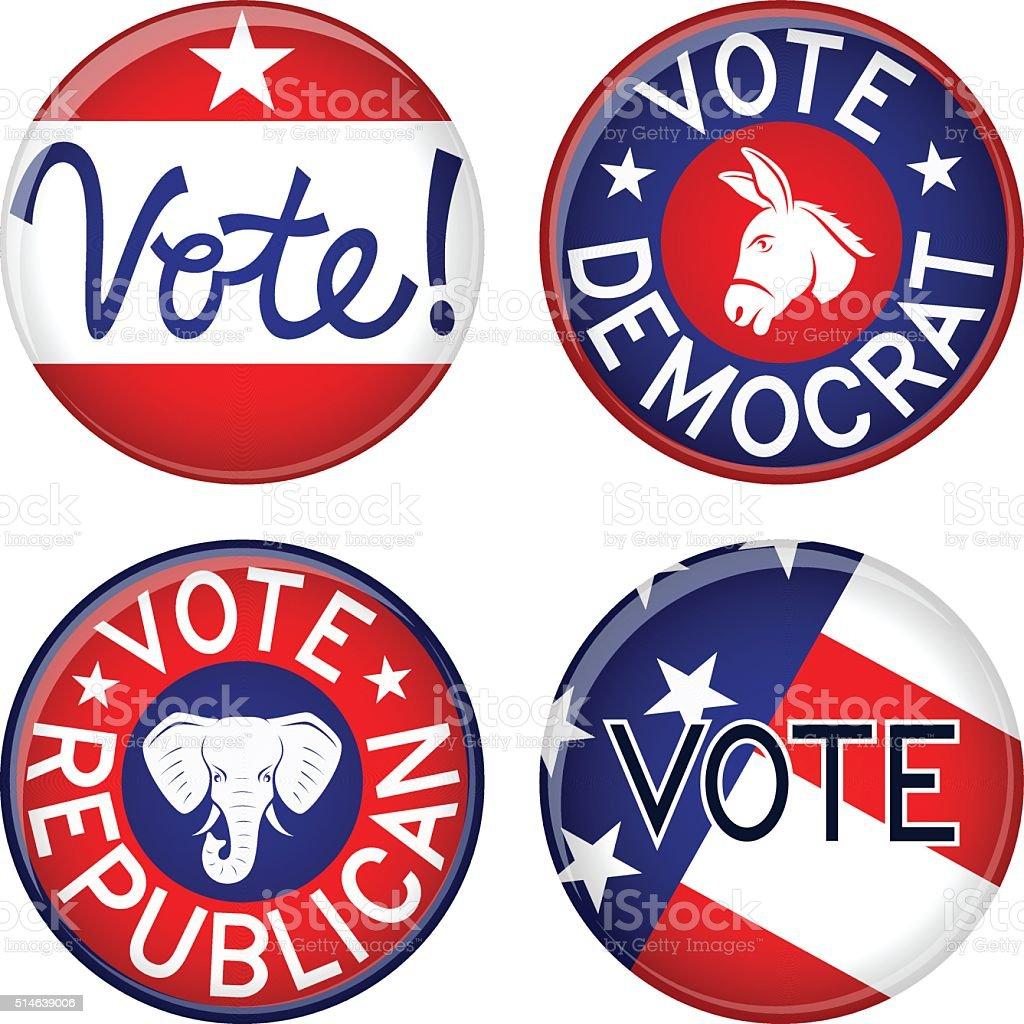 Political Buttons vector art illustration