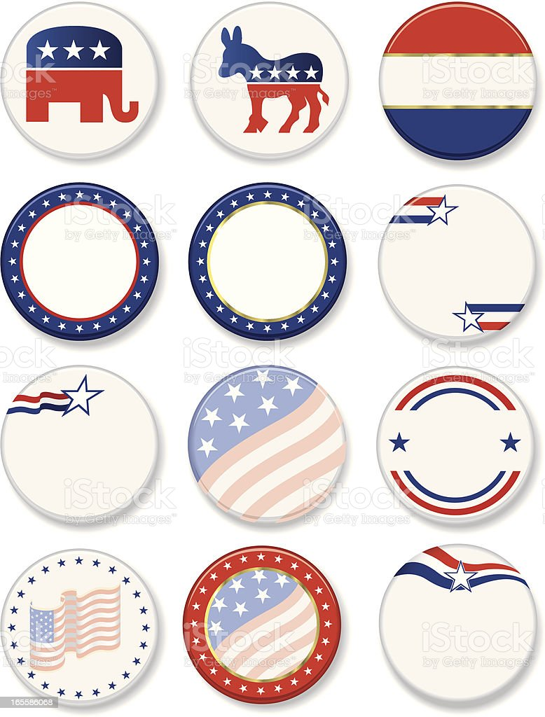 Political Campaign Buttons royalty-free stock vector art