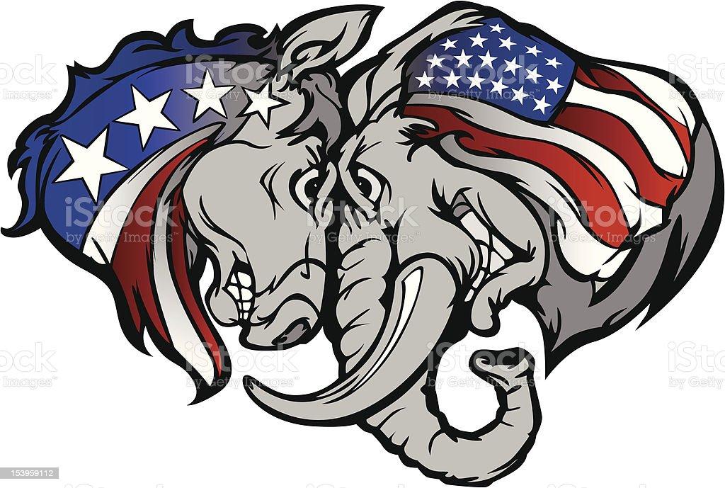 Political Elephant and Donkey Vector Cartoon royalty-free stock vector art