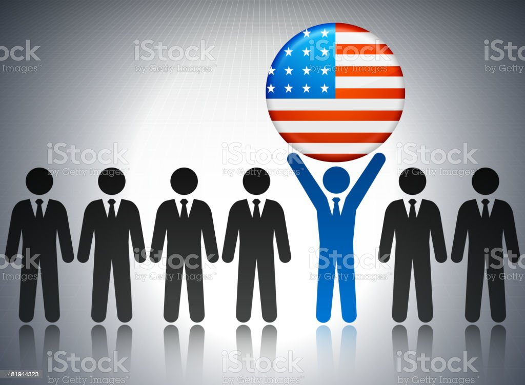 Political Flag Pin with Business Concept Stick Figures vector art illustration