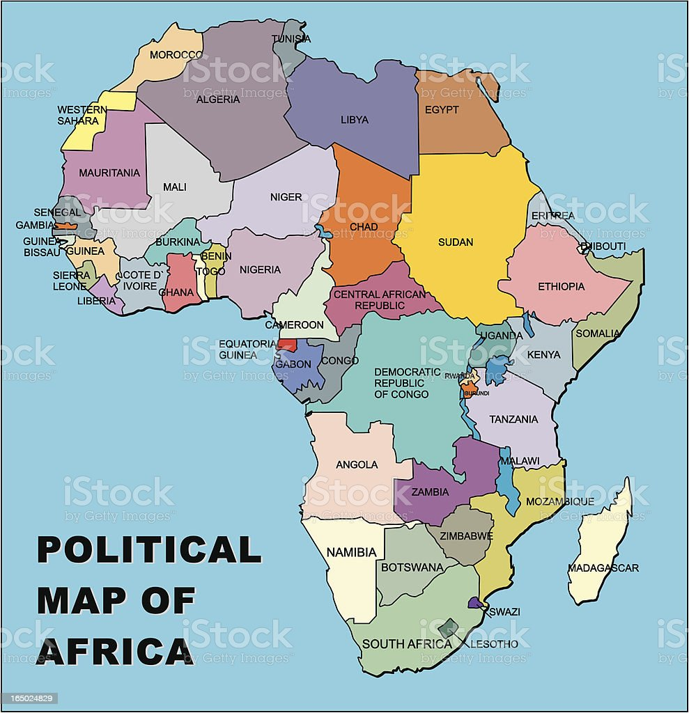 political map of africa in vector format vector art illustration