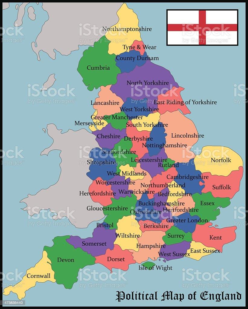 Political Map of England vector art illustration