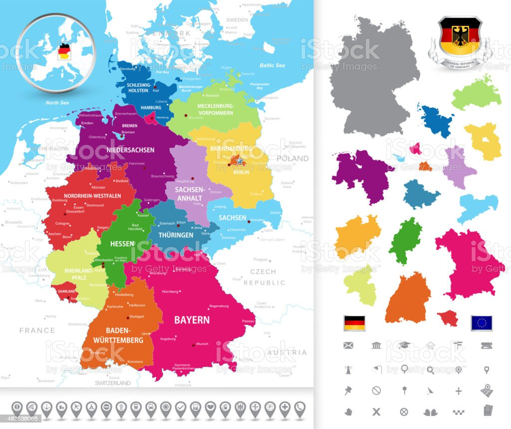 Political map of Germany vector art illustration
