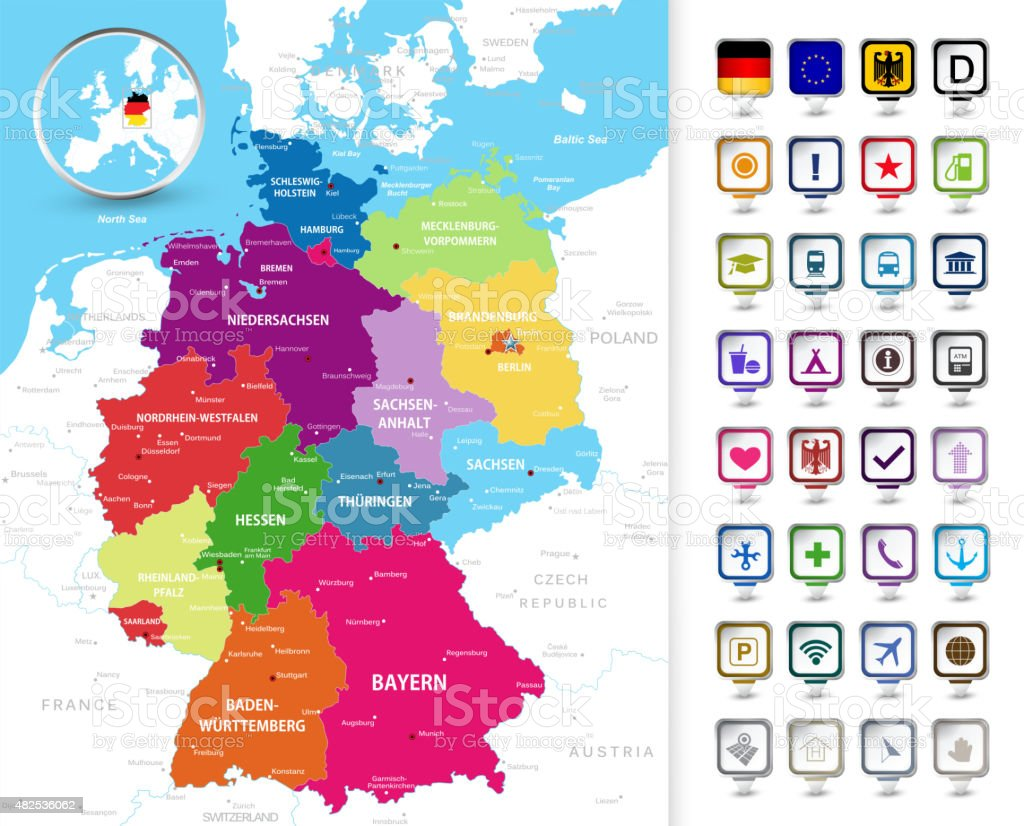 Political Map Of Germany With A D Pin Pointers Stock Vector Art - Germany political map
