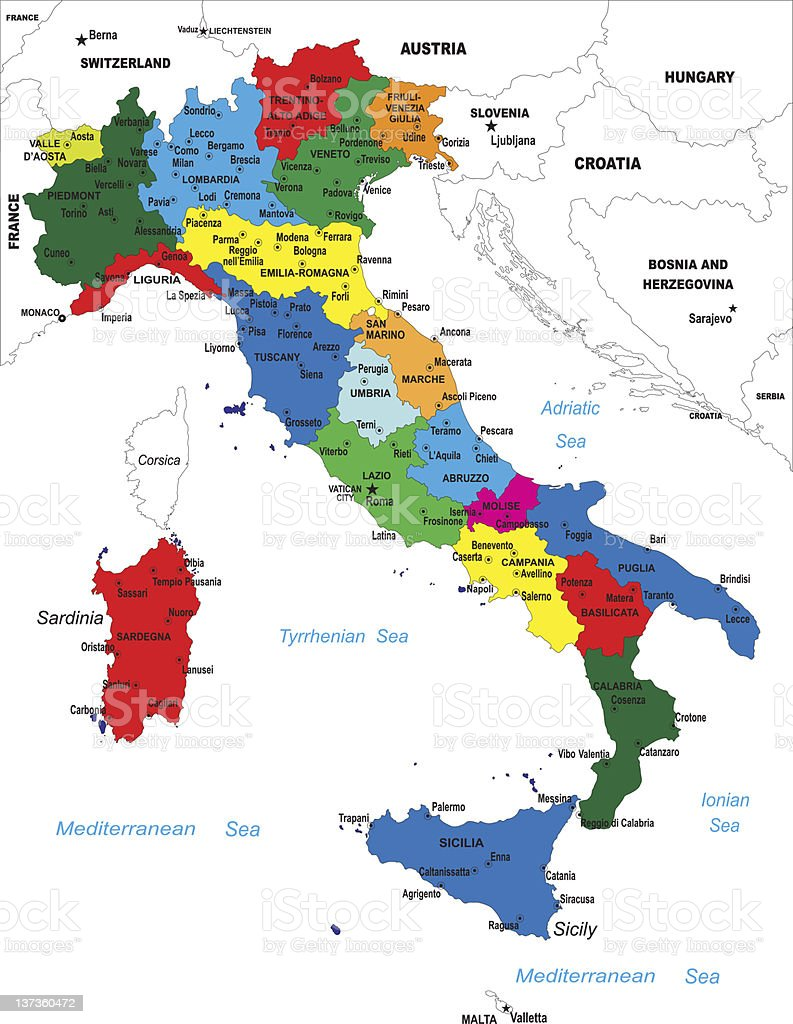 Political map of Italy vector art illustration