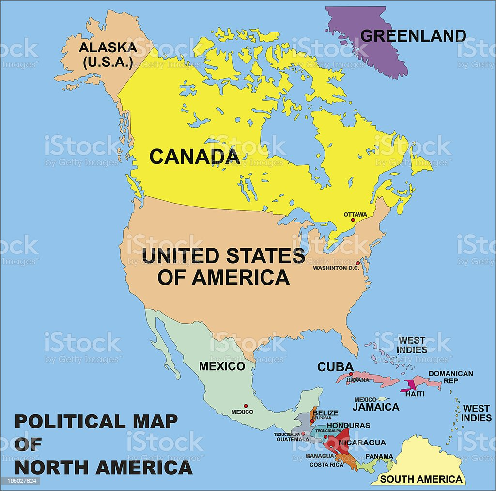 political map of north america in vector format vector art illustration