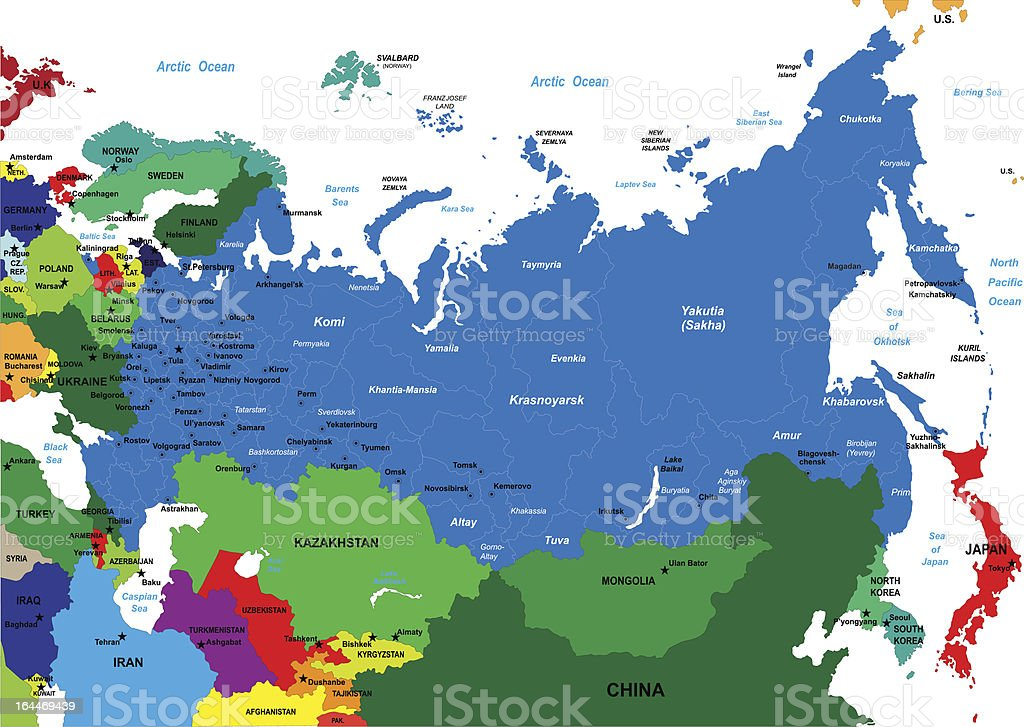 Political map of Russia vector art illustration