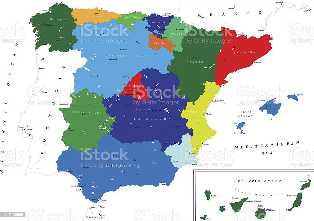 Political map of Spain royalty-free stock vector art
