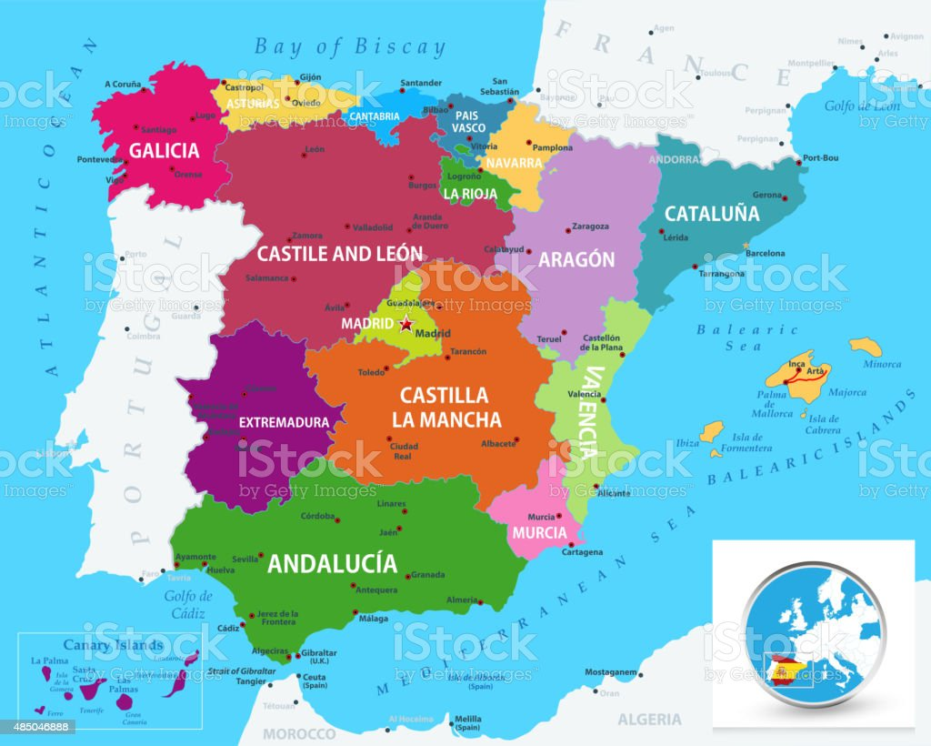 Political map of Spain vector art illustration
