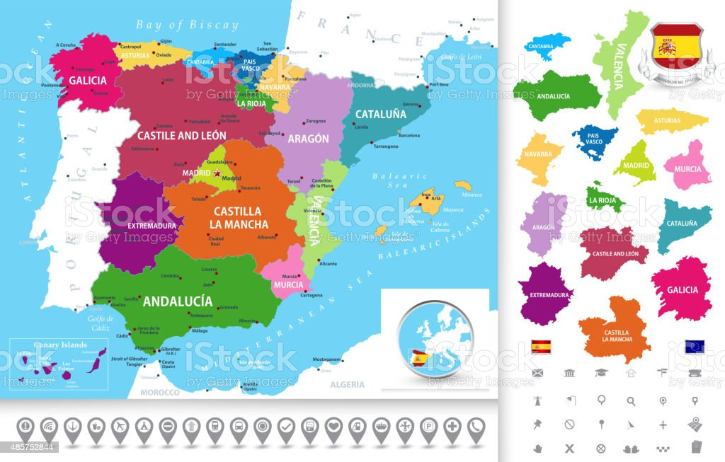 Political map of Spain with navigation icons collection vector art illustration