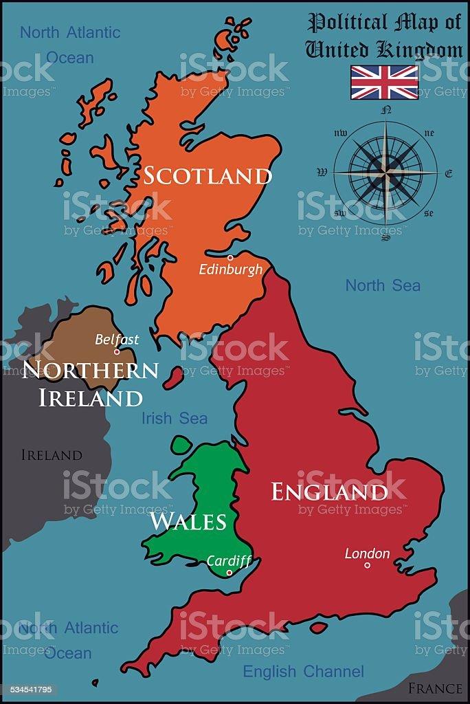 Political Map of United Kingdom vector art illustration