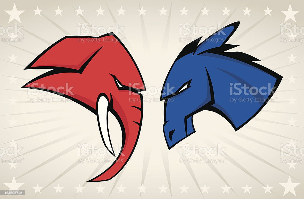 Political Mascots vector art illustration