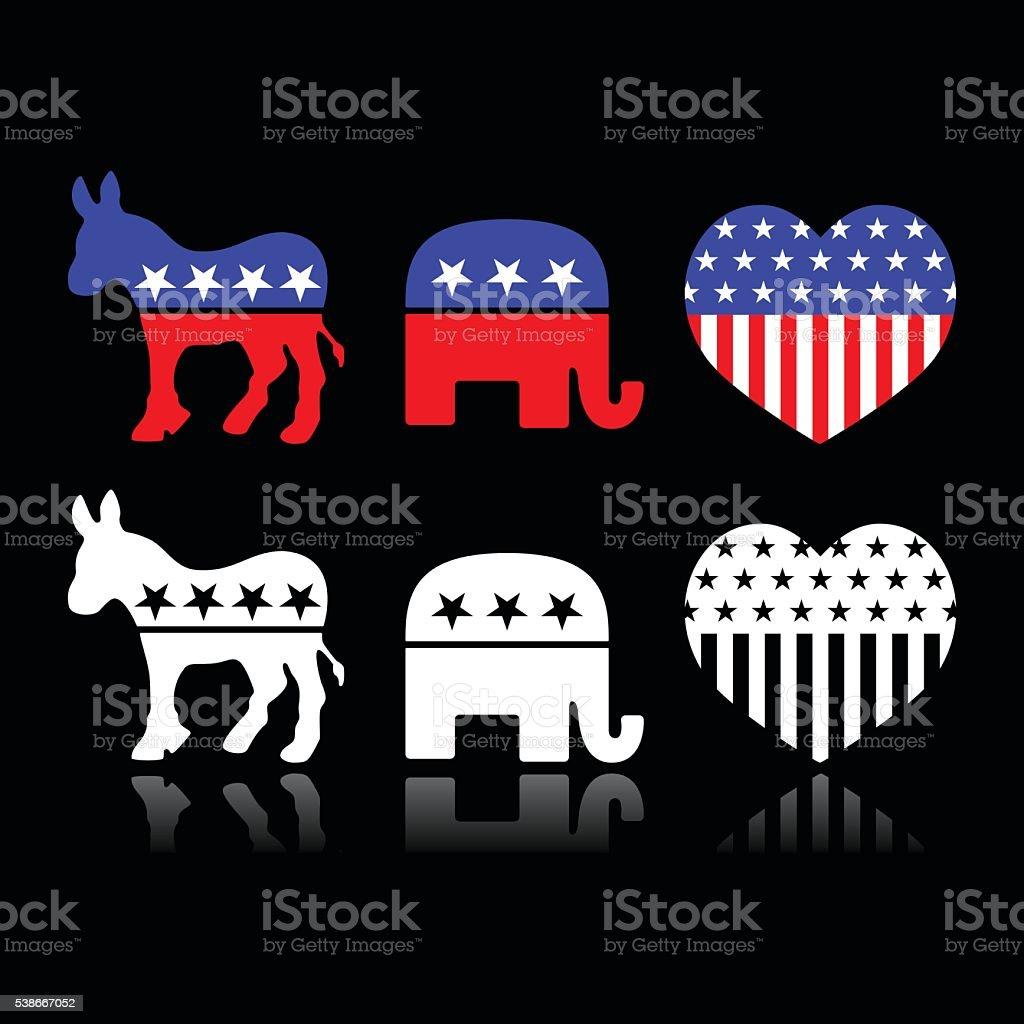 USA political parties symbols - Democrats and Republicans on black vector art illustration
