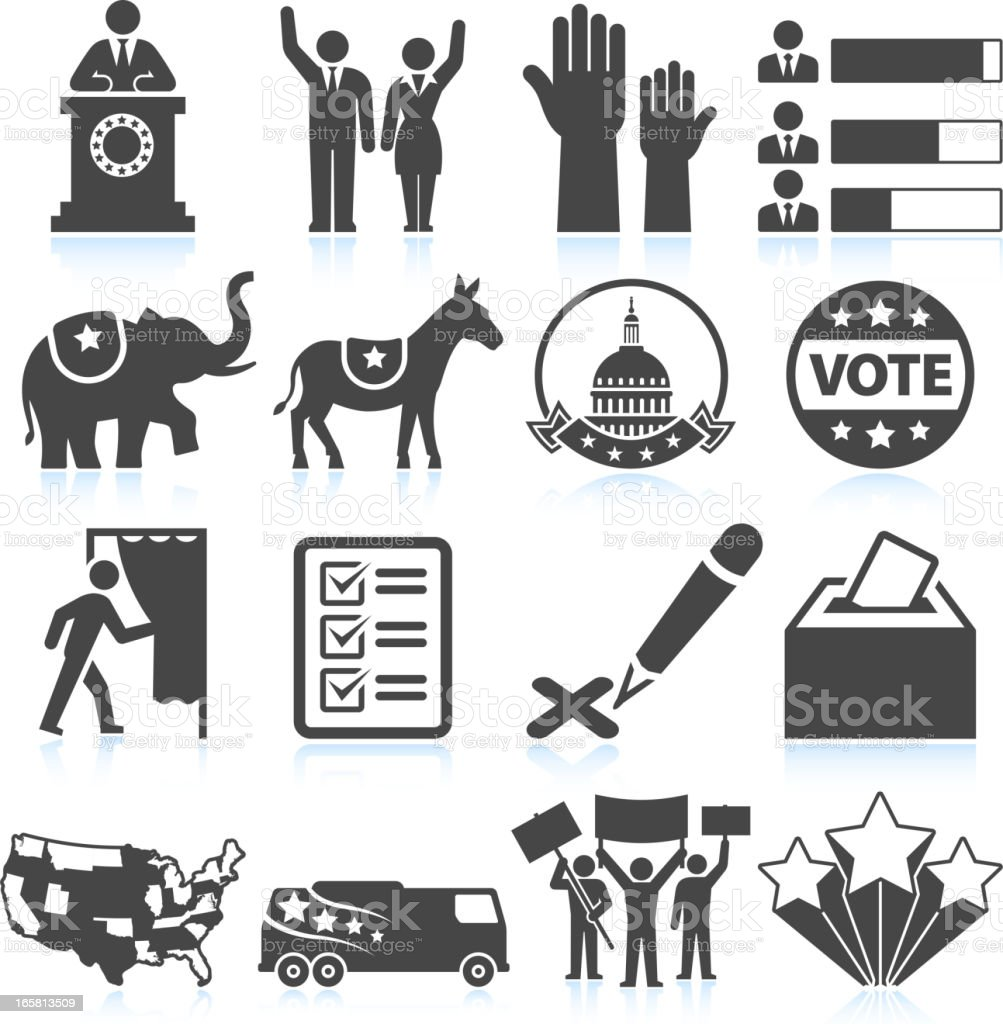 Political Presidential Elections in America black and white icon set royalty-free stock vector art