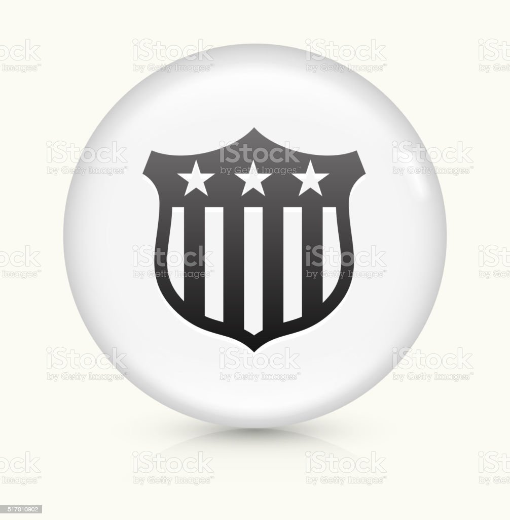 Political Shield icon on white round vector button vector art illustration