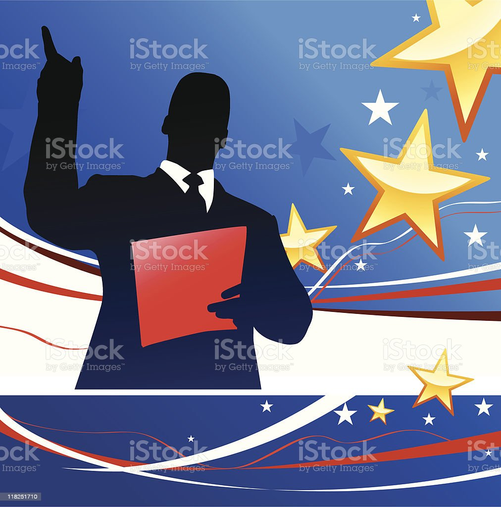 Political speaker on American patriotic background with stars royalty-free stock vector art