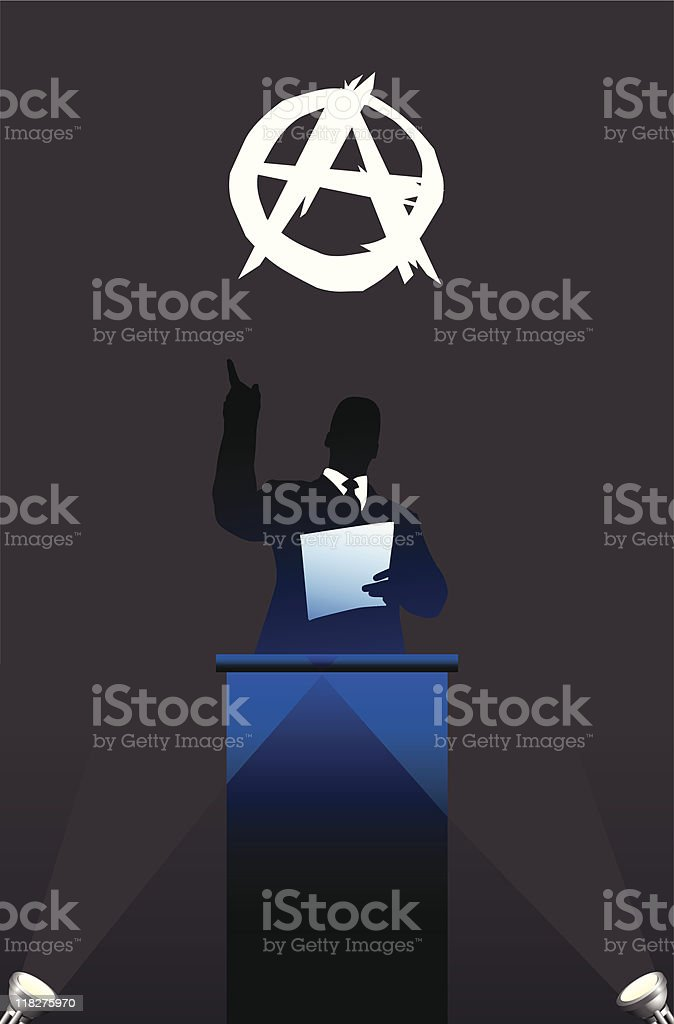 Political speaker on Anarchy flag background royalty-free stock vector art