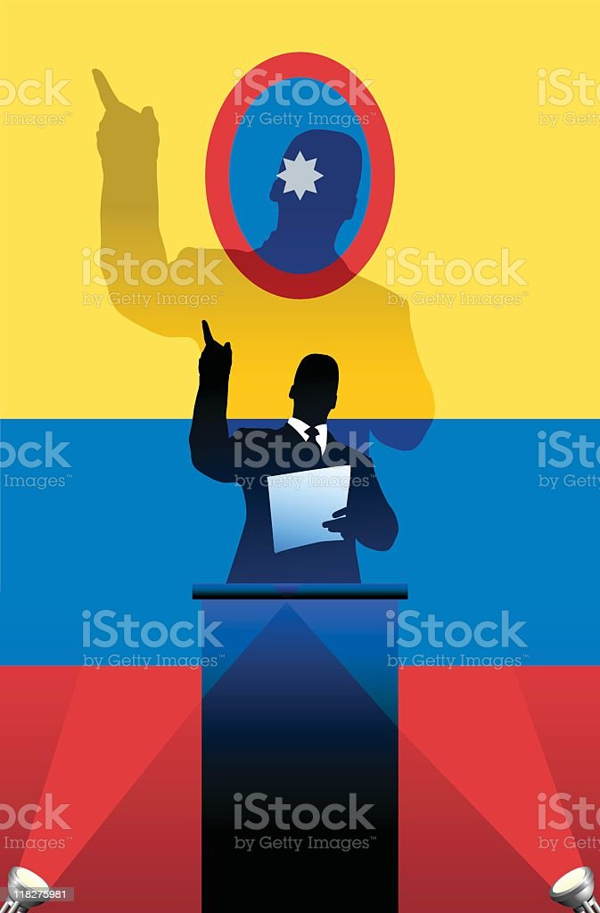 Political speaker on Columbia flag background royalty-free stock vector art