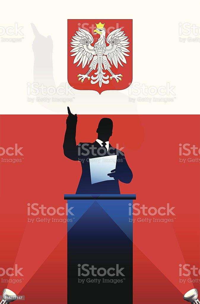 Political speaker on Polish flag background vector art illustration