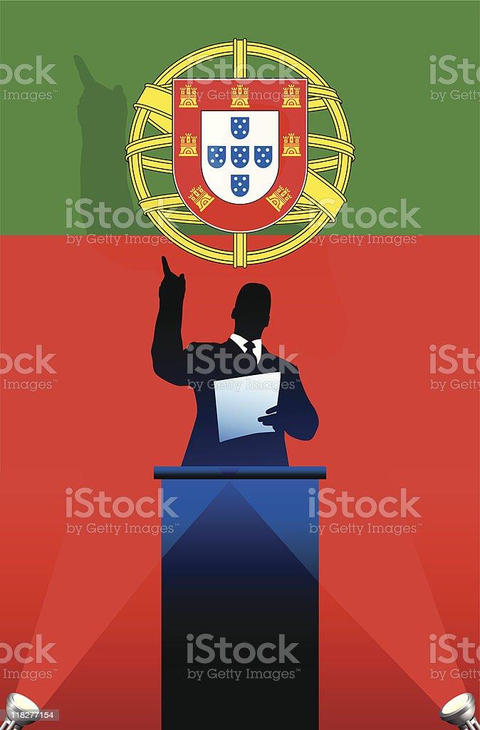 Political speaker on Portugal flag background royalty-free stock vector art