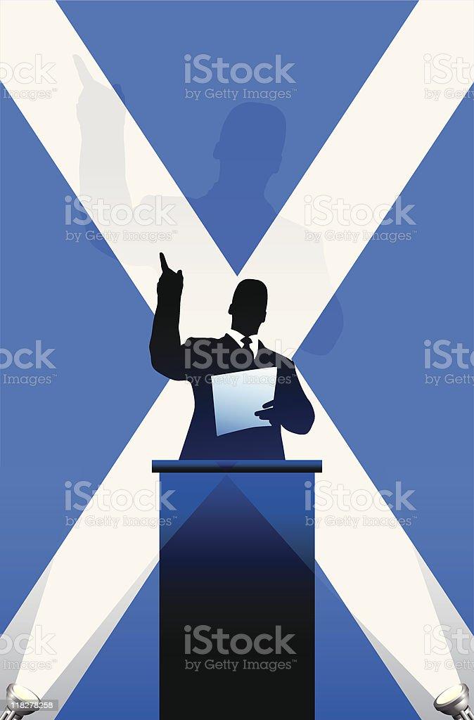 Political speaker on Scotland flag background royalty-free stock vector art