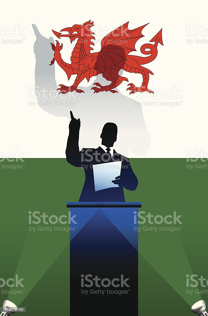 Political speaker on Wales flag background royalty-free stock vector art