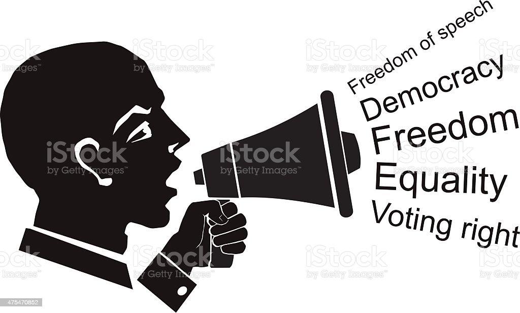 political speech, speaker with bullhorn in hand, civil rights vector art illustration