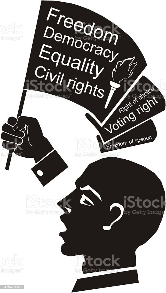 political speech, speaker with flag in hand, civil rights vector art illustration