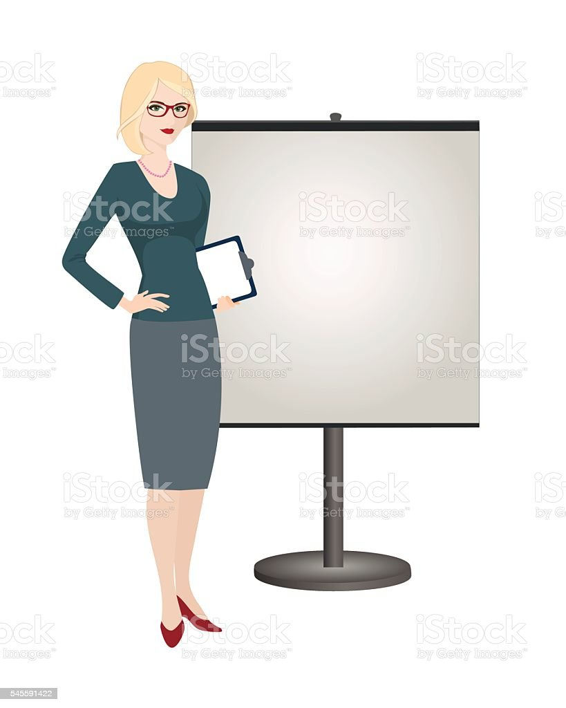 Political strategist  is standing next to stand on white background. vector art illustration