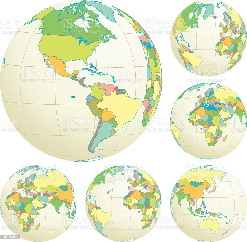 Political World Globe Set with Countries Done In Pastel Colors royalty-free stock vector art