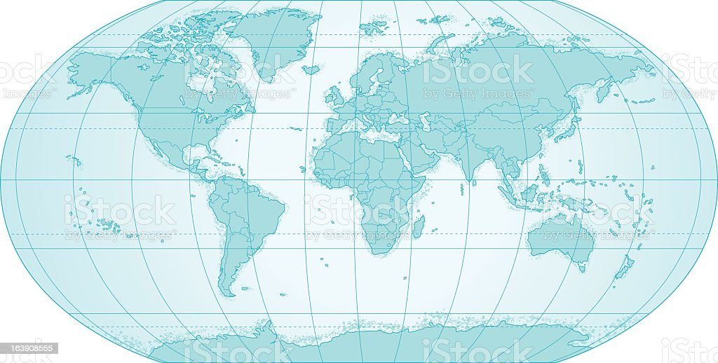 Political World Map In Blue with Latitude and Latitude Lines royalty-free stock vector art