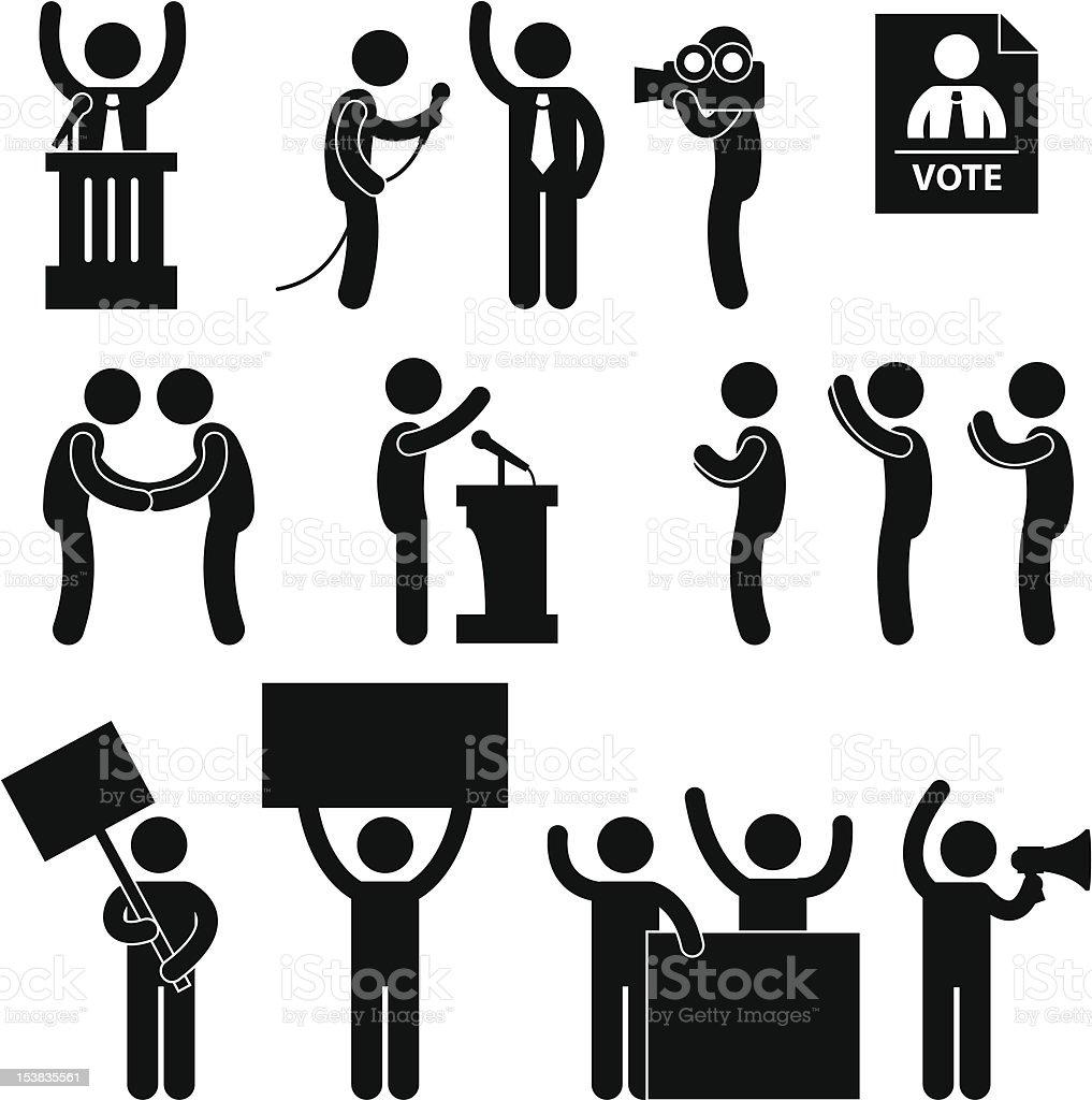 Politician Reporter Election Vote Pictogram royalty-free stock vector art