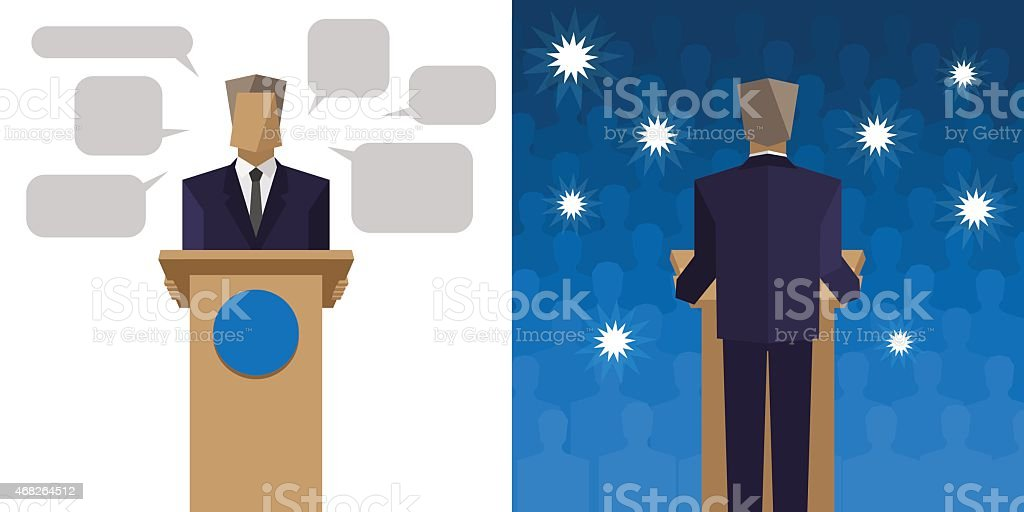 Politicians say it behind the podium before an audience vector art illustration
