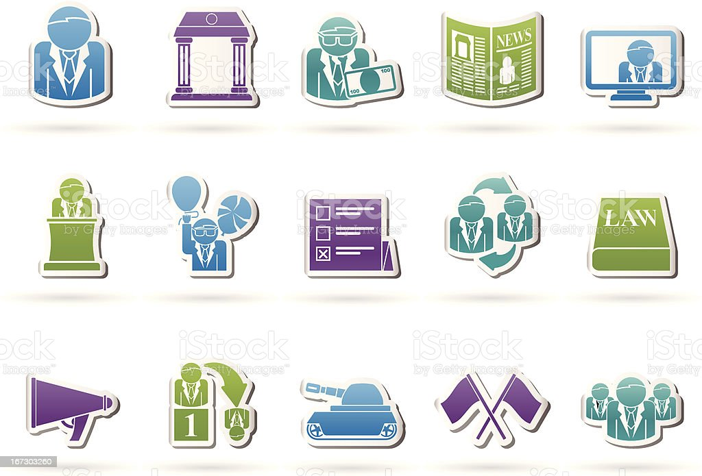 Politics, election and political party icons royalty-free stock vector art